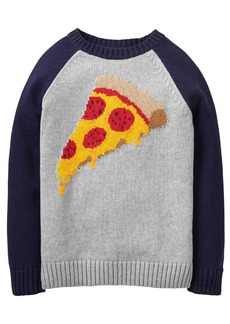 Gymboree Little Boys' Long Sleeve Raglan Pizza Sweater  L