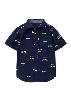 Gymboree Boys' Little Printed Short Sleeve Button Up Shirt Multi L