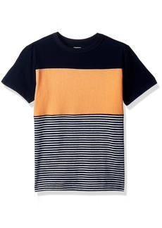 Gymboree Boys' Little Short Sleeve Colorblock Stripe TEE Peach XS