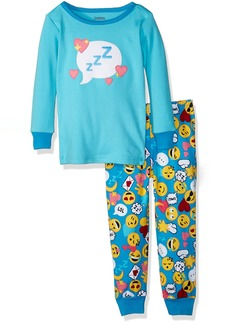 Gymboree Little Girls' 2-Piece Tight Fit Long Sleeve Pajama Set Blue Emoji ZZZ