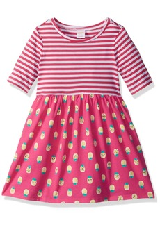 Gymboree Little Girls' 3/4 Sleeve Two Tone Fit and Flare Dress  L