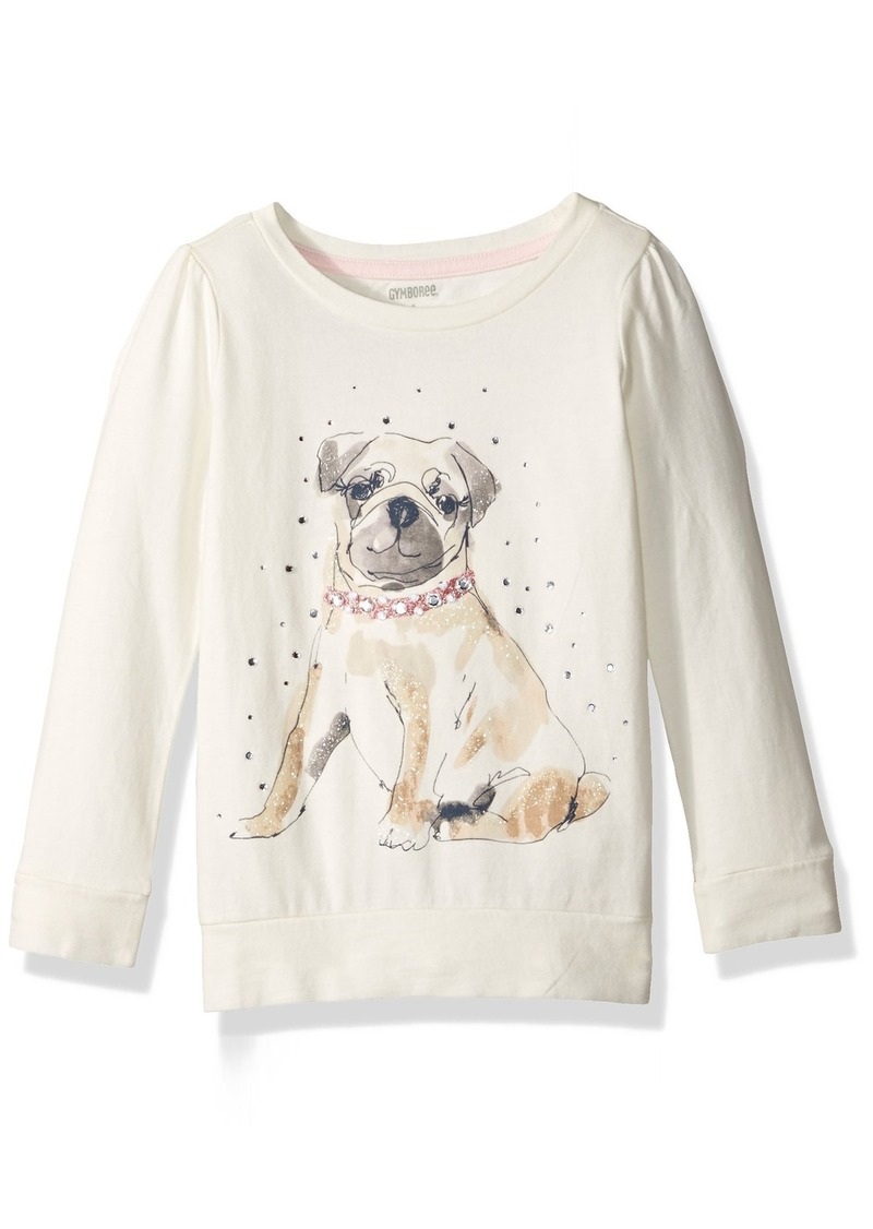 Gymboree Little Girls' Long Sleeve Ivory Dog Graphic Tee