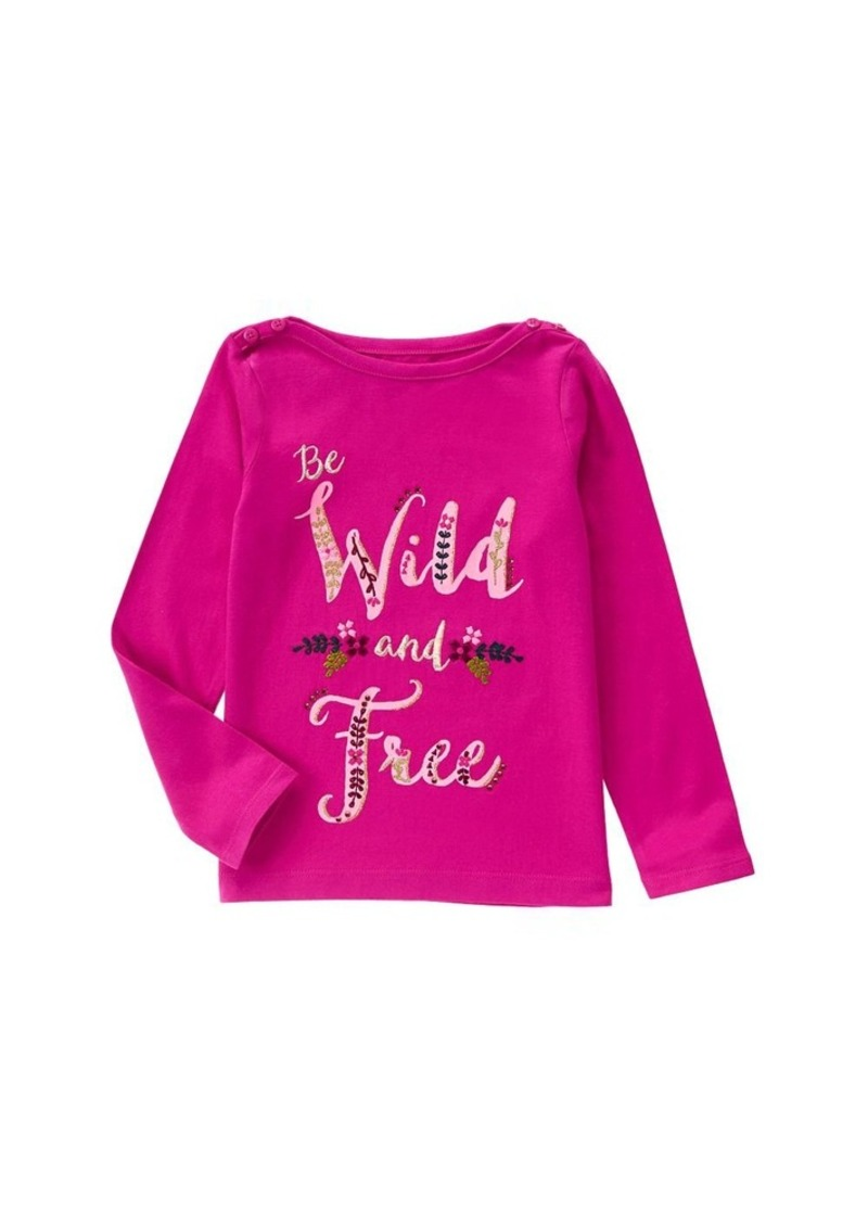 Gymboree Little Girls' Long Sleeve Wild and Free Berry Graphic Tee