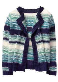 Gymboree Girls' Little Stripe Blanket Sweater Blue XS