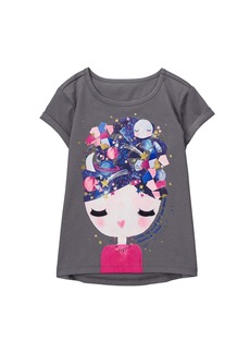 Gymboree Girls' Little Tunic Graphic Tee Gray face L