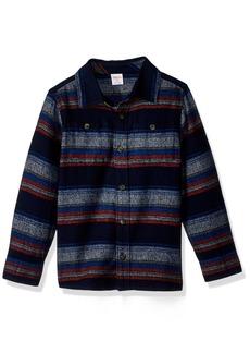 Gymboree Boys' Toddler Long Sleeve Flannel Shirt Multi Stripe Blue/Orange