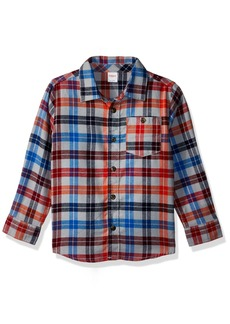 Gymboree Boys' Toddler Long Sleeve Plaid Flannel Shirt red T