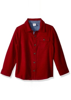 Gymboree Boys' Toddler Long Sleeve Solid Print Flannel Shirt Tango red