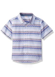 Gymboree Boys' Toddler Short Sleeve Woven Pocket Shirt geo Stripe