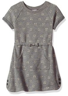 Gymboree Toddler Girls' Kitty Print Kanga Pocket Dress Dark Grey T