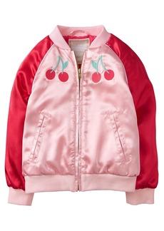 Gymboree Girls' Toddler Long Sleeve Zip Satin Bomber Jacket