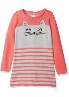 Gymboree Toddler Girls' Pink and Grey Kitten Sweater Dress Multi
