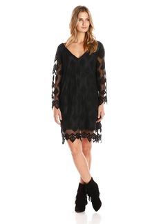 Gypsy 05 Women's Embroidered Diamond Netting Long Sleeve Dress