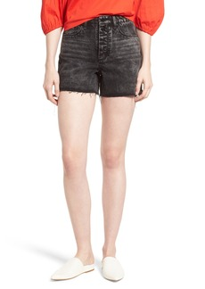 Habitual Jeans Habitual Maddie High Rise Raw Edge Denim Shorts (Obsidian)