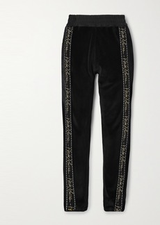 Haider Ackermann Embroidered Grosgrain-trimmed Cotton-blend Velvet Track Pants