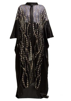 Haider Ackermann Floral-embroidered silk-blend kimono-style coat