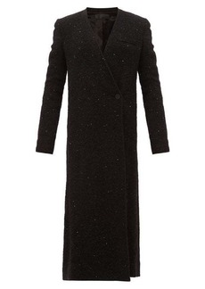 Haider Ackermann V-neck sequinned-boucle long-line coat