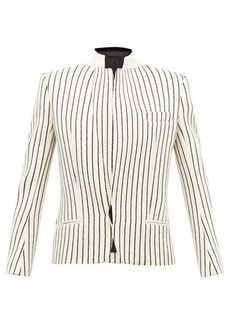 Haider Ackermann Velvet-collar striped-jacquard wool blazer