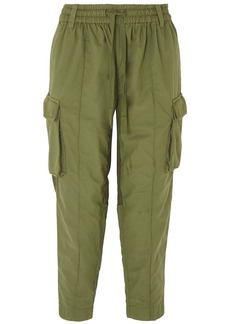 Haider Ackermann Woman Cropped Terry-paneled Cotton-jersey Tapered Pants Leaf Green