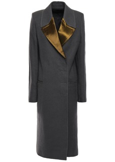 Haider Ackermann Woman Double-breasted Satin-trimmed Brushed-wool Coat Dark Gray