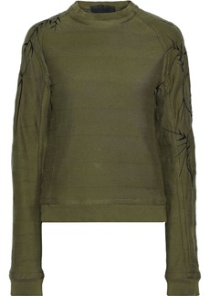 Haider Ackermann Woman Embroidered French Cotton-terry Sweatshirt Army Green