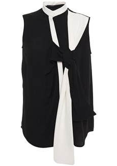 Haider Ackermann Woman Knotted Two-tone Crepe Top Black