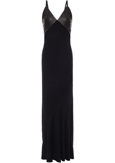 Haider Ackermann Woman Leather-paneled Crepe Maxi Dress Black