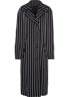Haider Ackermann Woman Oversized Striped Sateen Coat Black