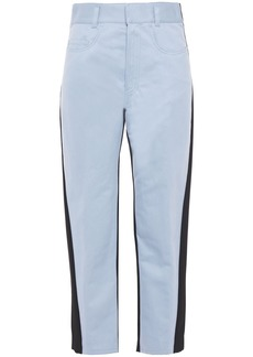 Haider Ackermann Woman Paneled Cotton-blend Twill And Wool-crepe Tapered Pants Light Blue