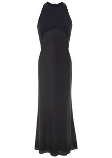 Haider Ackermann Woman Paneled Jersey And Silk Crepe De Chine Midi Dress Black