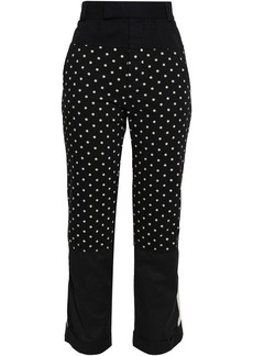 Haider Ackermann Woman Polka-dot Cotton-jersey Twill And Poplin Straight-leg Pants Black