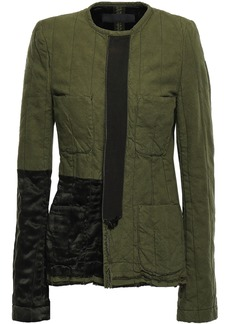 Haider Ackermann Woman Satin-paneled Cotton-canvas Jacket Army Green