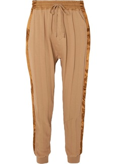 Haider Ackermann Woman Satin-trimmed French Cotton-terry Track Pants Sand