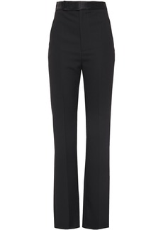 Haider Ackermann Woman Satin-trimmed Grain De Poudre Wool Slim-leg Pants Black