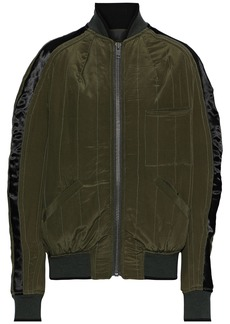 Haider Ackermann Woman Satin-trimmed Quilted Silk Bomber Jacket Army Green