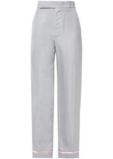 Haider Ackermann Woman Satin-trimmed Twill Straight-leg Pants Light Gray