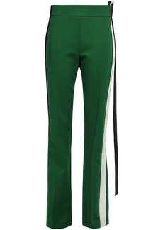 Haider Ackermann Woman Satin-trimmed Wool-blend Straight-leg Pants Forest Green