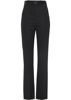 Haider Ackermann Woman Silk Satin-trimmed Grain De Poudre Wool Straight-leg Pants Black