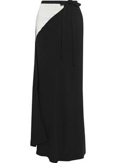 Haider Ackermann Woman Two-tone Satin-paneled Crepe Maxi Wrap Skirt Black