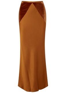 Haider Ackermann Woman Velvet-paneled Satin Maxi Skirt Copper