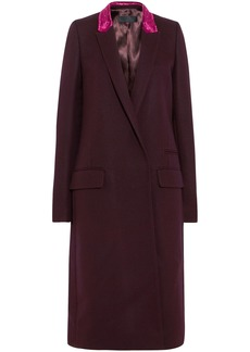 Haider Ackermann Woman Velvet-trimmed Wool-blend Coat Burgundy