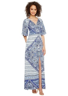 Hale Bob Beach Belle Rayon Stretch Satin Woven Maxi Dress