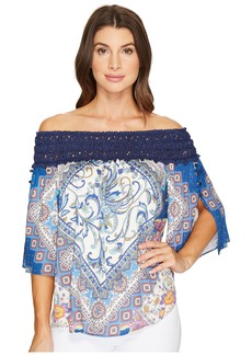 Hale Bob Beautiful Creatures Rayon Satin Off the Shoulder Top