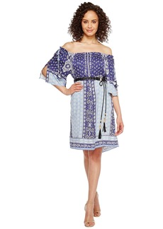 Hale Bob Boho Bandits Rayon Stretch Satin Woven Off the Shoulder Dress