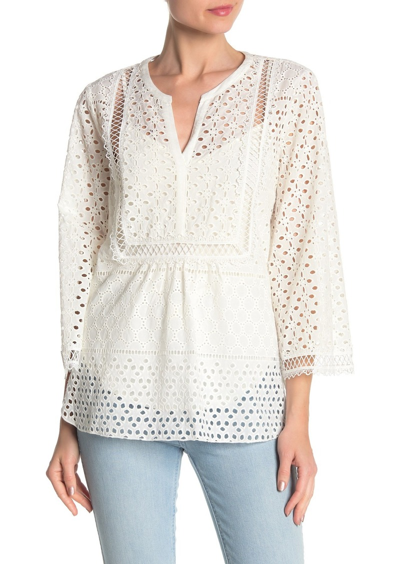 Hale Bob Embroidered Eyelet Blouse