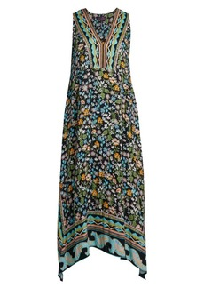 Hale Bob Floral V-Neck Midi Handkerchief Dress