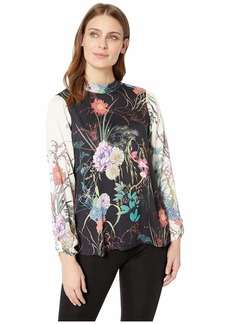 Hale Bob Florals Take Flight Rayon Stretch Satin Woven Lorena Top