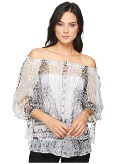 Hale Bob Force of Nature Washed Silk Georgette Off the Shoulder Top
