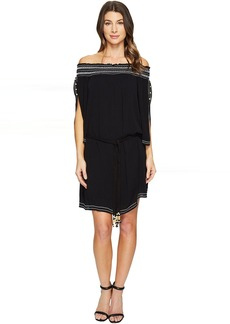 A Place In The Sun Crinkle Rayon Gauze Off Shoulder Dress