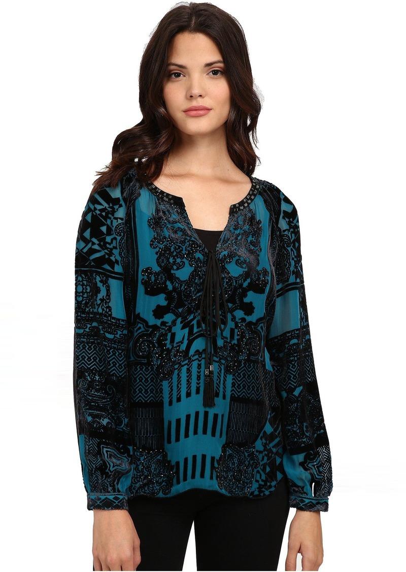 Hale Bob American Beauty Silk/Rayon Velvet Burnout Blouse